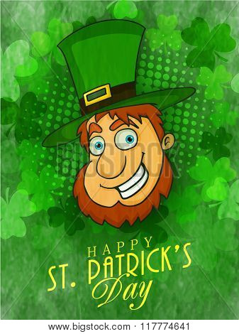 Happy Leprechaun face in hat on shamrock leaves decorated background, can be used as pamphlet, banner or flyer design for St. Patrick's Day celebration.