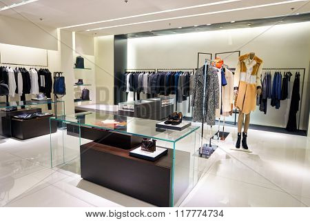 HONG KONG - JANUARY 26, 2016: inside of Calvin Klein store at Elements Shopping Mall. Calvin Klein Inc. is an American fashion house founded by the fashion designer Calvin Klein