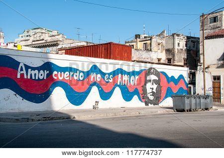 HAVANA, CUBA - JULY 10, 2012: Amor Cuerdo No Es Amor, Drawing Havana