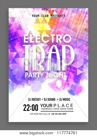 Creative abstract design decorated Flyer, Banner or Template presentation for Electro Trap, Party Night celebration.