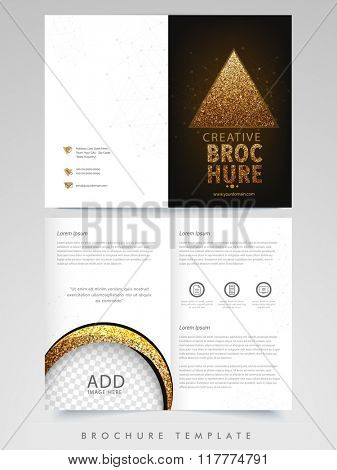 Creative Two Page Brochure, Template or Flyer design with space to add image for Business concept.