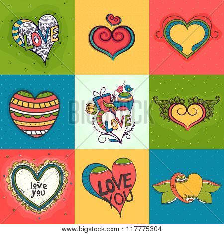 Set of creative colorful hearts for Happy Valentine's Day celebration.