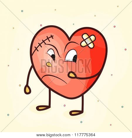 Funny angry heart with bandage for Valentine's Day concept.