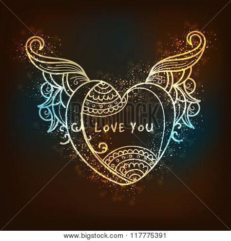 Floral design decorated elegant shiny heart on glossy brown background for Happy Valentine's Day celebration.
