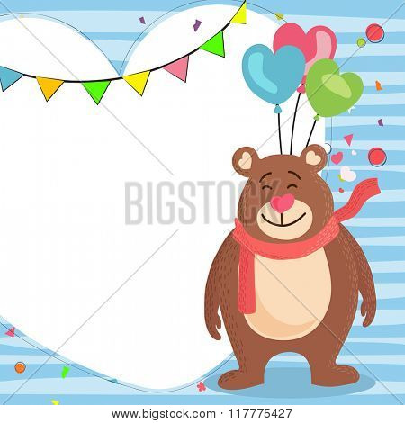 Blank greeting card design with cute smiling bear and colorful heart shaped balloons for Valentine's Day celebration.