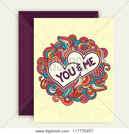 Colorful floral design decorated beautiful greeting card with text You & Me for Happy Valentine's Day celebration.