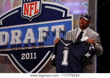 Tyron Smith is introduced as the ninth pick to the Dallas Cowboys at the NFL Draft 2011 at Radio City Music Hall in New York, NY.