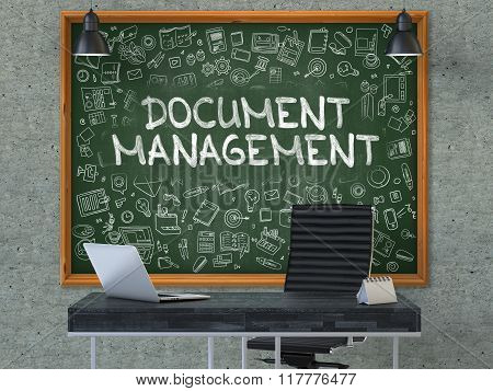 Hand Drawn Document Management on Office Chalkboard.