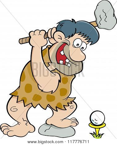 Cartoon caveman playing golf.