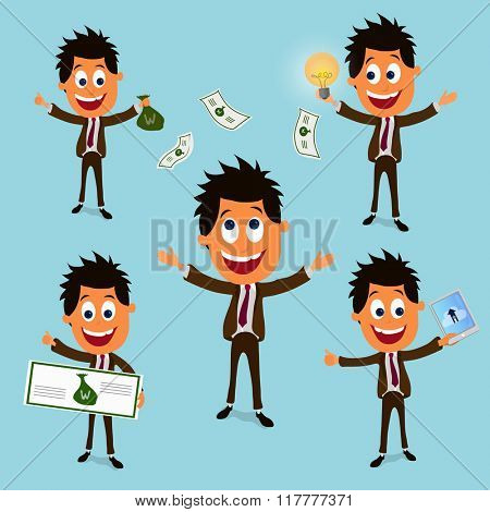 Young Businessman character with different success elements.