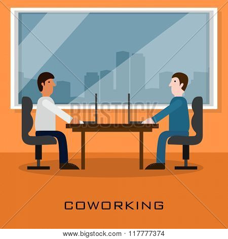 Illustration of coworking and creative team, working with digital device, discussing and consulting their ideas at office.