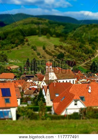 Tilt-shift View Of Classic French Village
