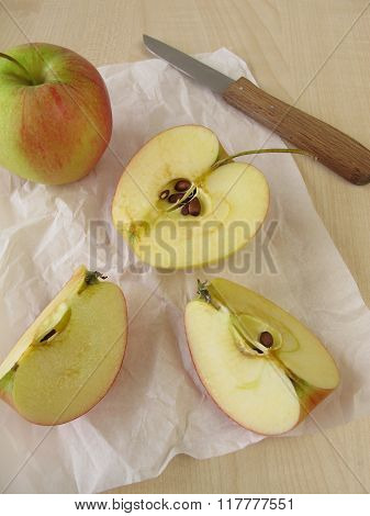 Apple halves with brown coloring