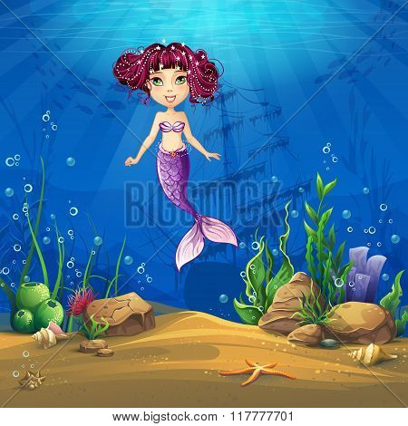 Undersea World With Brunette Mermaid Vector Illustration Backgro