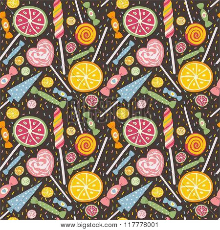 Cute seamless pattern with lollipops and candies