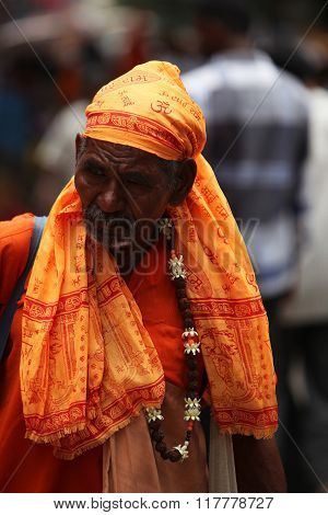 Pune, India  -  july 11, ?2015: An Old Indian Pilgrim In A Traditional Attire During A Religious War