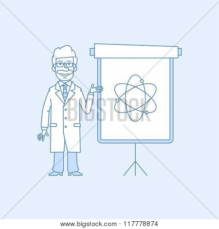 Professor points to flip chart