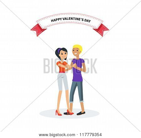 Happy Valentine Day Couple Design Flat