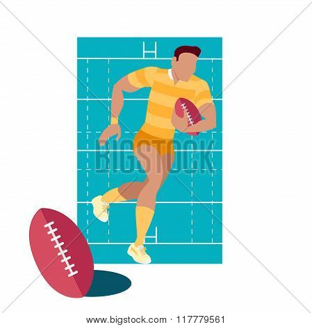 Rugby Sport Concept Icon Flat Design