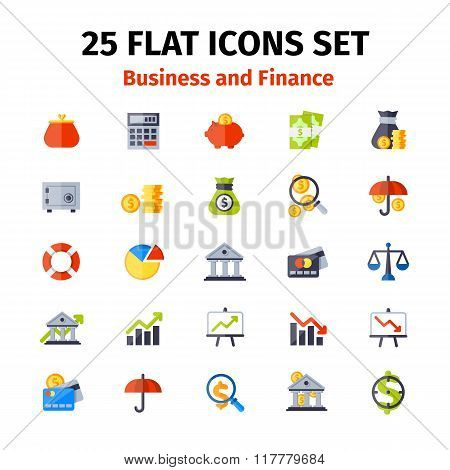 Business And Finance Icon Set In Flat