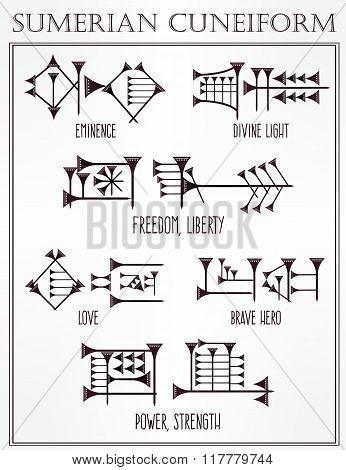 Sumerian cuneiform words meanings tattoo set.
