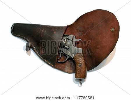 Old Loaded Revolver In A Holster