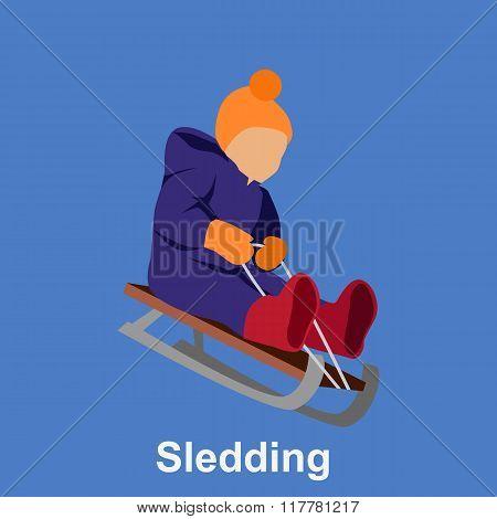 Sledding children design flat style