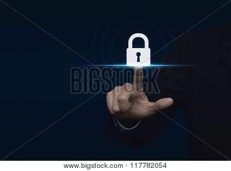 Businessman Pressing Security Button Icon, Technology Information Security And Data Encryption Conce