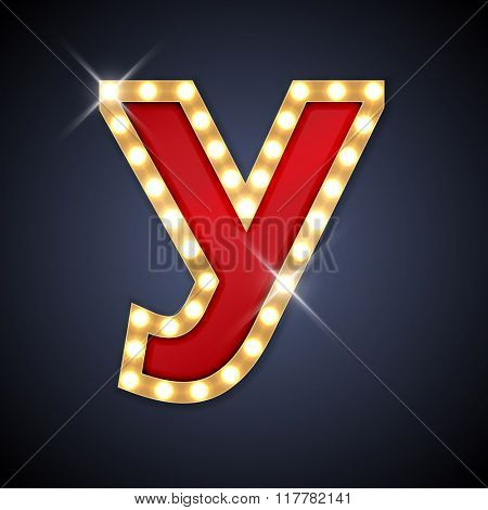 Vector illustration of realistic retro signboard cyrillic letter U. Part of alphabet including special European letters.