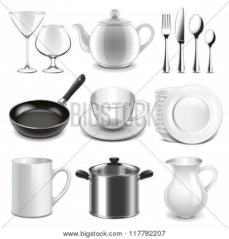 Crockery Icons Vector Set