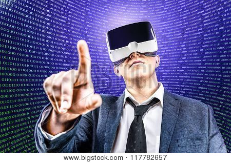 Businessman Uses Virtual Reality Vr Head Mounted Display