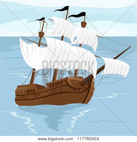 Old ship with white sales