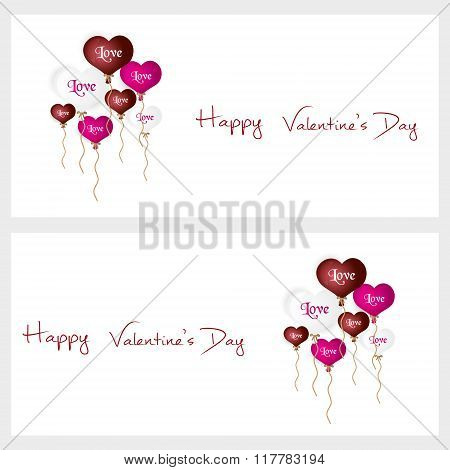 Colorful Helium Balloons Heart Shape Valentine Card Eps10
