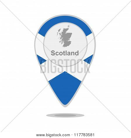 A pointer with map and flag of Scotland