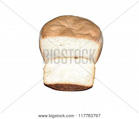 Home Round White Bread With A Piece Cut Off