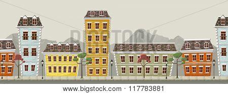 Big colorful city landscape with buildings