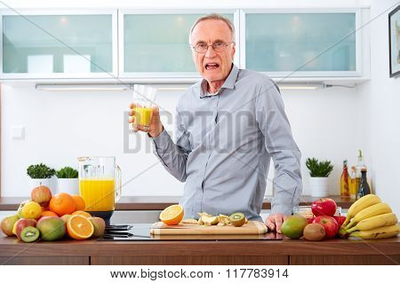 Senior Man Does Not Like Fruits And Juice