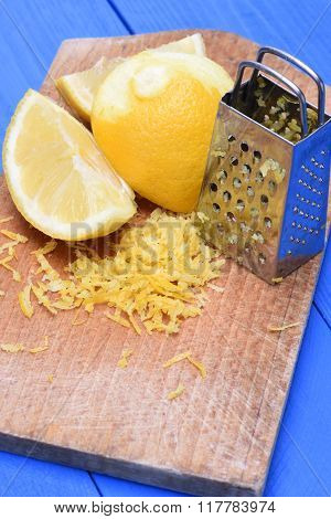 Fruit lemon fruit and lemon zest with grater