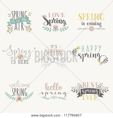 Spring art text composition vector illustration. Spring lettering design elements. Welcome spring flowers art hand drawn text design