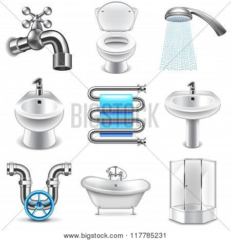 Plumbing Icons Vector Set