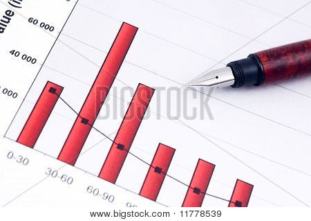 Fountain Pen And  Business Charts
