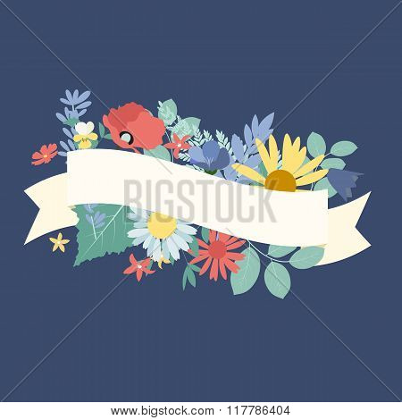 Abstract Natural Spring Background with Flowers and Leaves. Vect