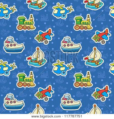 Seamless Pattern With Colorful Childrens Toys.