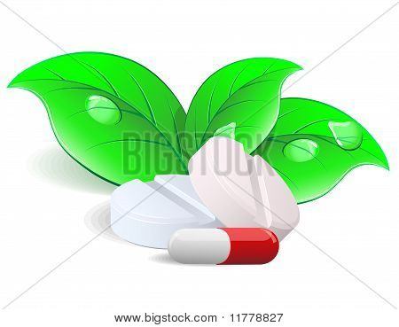 Medicament: two pills and capsulesover. Vector.