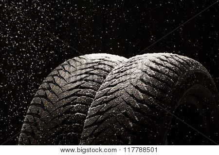 Winter Car Tires With Snow On Black