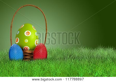 Easter basket and Easter eggs on grass on green background