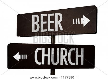 Beer - Church signpost isolated on white background