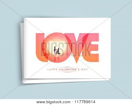 Elegant greeting card design with stylish text Love for Happy Valentine's Day celebration.
