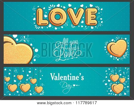 Creative website header or banner set with hearts for Happy Valentine's Day celebration.