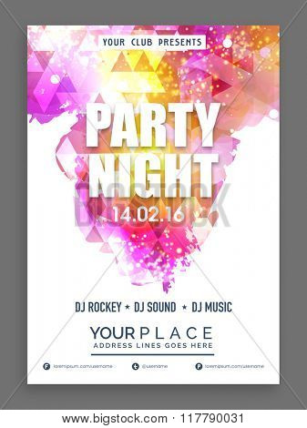 Party Night Flyer, Banner or Template decorated with shiny colorful abstract design.